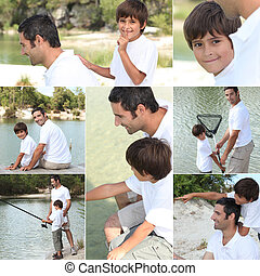 Collage of a man and a little boy fishing