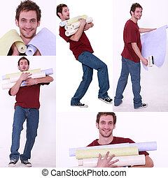 Collage of a man carrying wallpaper rolls