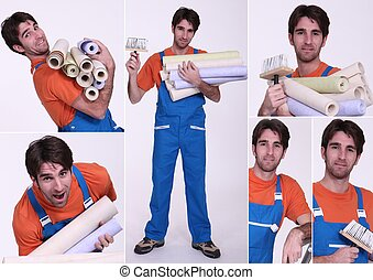 Collage of a man holding wallpaper rolls