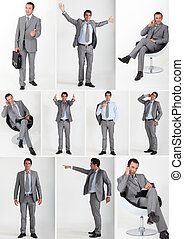 Collage of a man wearing a grey flannel suit