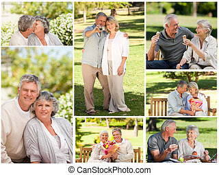 Collage of a mature couple in a park