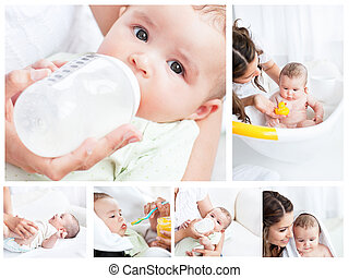 Collage of a mother spending a day with her child