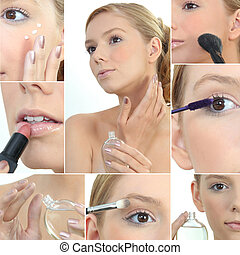 Collage of a woman applying makeup