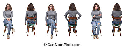 collage of a woman sitting on a chair in white background, front and back view