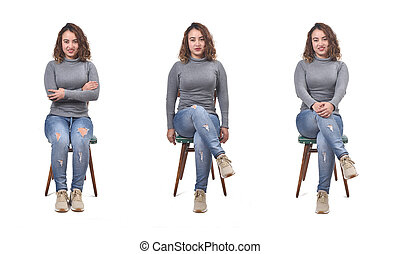 collage of a woman sitting on a chair in white background, front view,