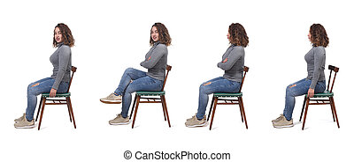 collage of a woman sitting on a chair in white background, profile