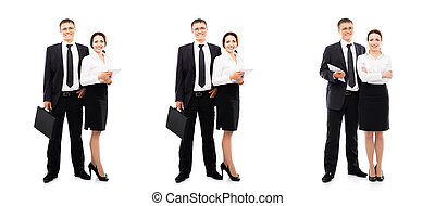 Collage of a young business couple isolated on white -...