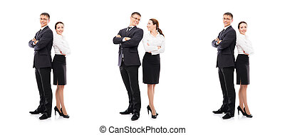 Collage of a young business couple isolated on white
