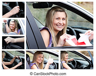 Collage of a young driver in her car