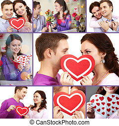 Valentines - Collage of a young happy couple of Valentines