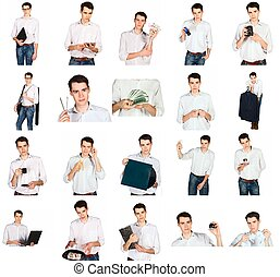 collage of a young man with office