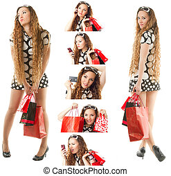 collage of a young shopping woman