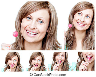 Collage of a young woman eating a lollipop