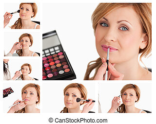 Collage of a young woman getting made up