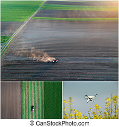 Collage of agricultural works shoot from drone