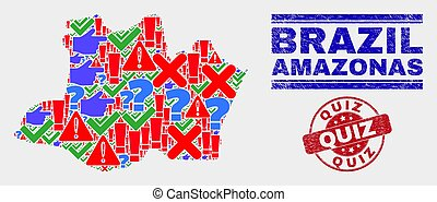Collage of Amazonas State Map Sign Mosaic and Grunge Quiz Seal