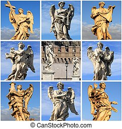 Collage of Angel statues from Saint Angel bridge of Rome,...