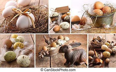 Collage of assorted brown eggs images for easter
