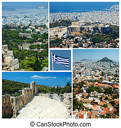Collage of Athens landmarks , Greece