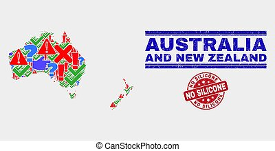 Collage of Australia and New Zealand Map Symbol Mosaic and Grunge No Silicone Stamp