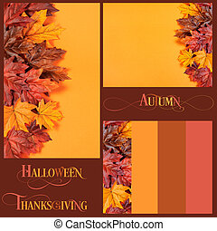 Collage of Autumn Leaves on modern trend orange background for Fall, Thanksgiving, or Halloween holiday backgrounds, with sample text and color borders.