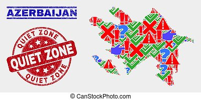 Collage of Azerbaijan Map Symbol Mosaic and Distress Quiet Zone Seal