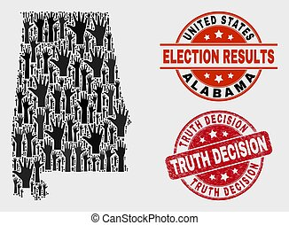 Collage of Ballot Alabama State Map and Scratched Truth Decision Seal