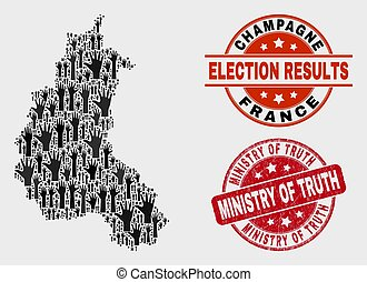 Collage of Ballot Champagne Province Map and Grunge Ministry of Truth Stamp Seal