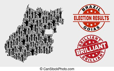 Collage of Ballot Goias State Map and Grunge Brilliant Seal