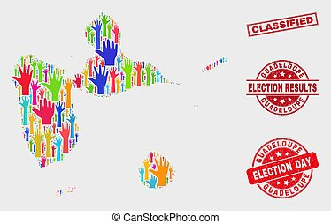 Collage of Ballot Guadeloupe Map and Scratched Classified Stamp Seal