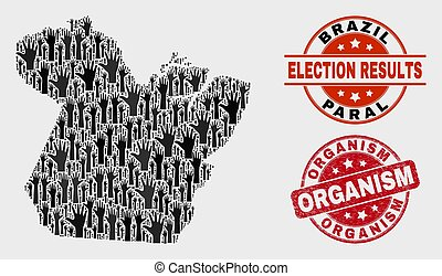 Collage of Ballot Paral State Map and Scratched Organism Stamp
