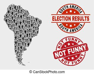 Collage of Ballot South America Map and Distress Not Funny Stamp Seal