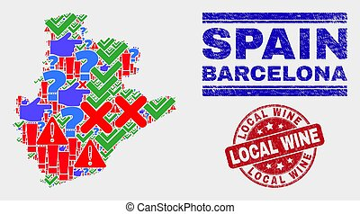 Collage of Barcelona Province Map Sign Mosaic and Grunge Local Wine Stamp Seal