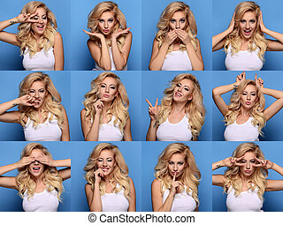 Collage of beautiful blonde woman close up portrait with different expression. From sad to happy