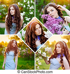 Collage of beautiful girl in spring garden with lilac flowers