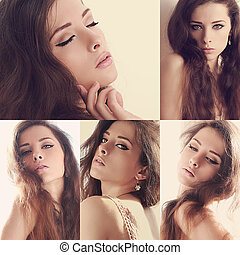 Collage of beautiful makeup woman with long brown hair in different poses