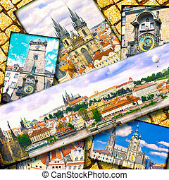 Collage of beautiful Prague.