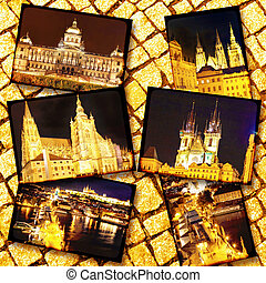 Collage of beautiful Prague. Night view.