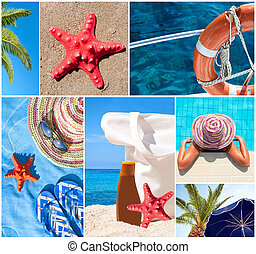 Collage of beautiful summer photos - Summer vacation concept...