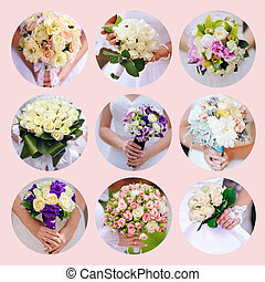 Collage of beautiful wedding bouquets. Nine photos
