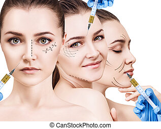 Collage of beautiful woman gets beauty facial injections....