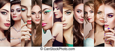 Collage of beautiful women faces