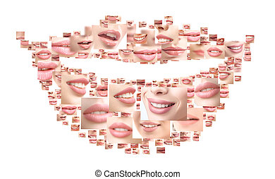 Collage of beautiful women smiling close up shots