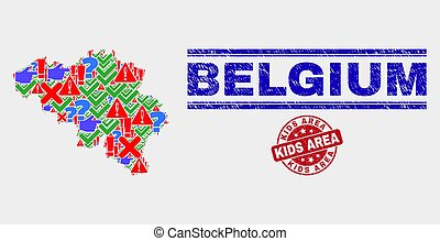Collage of Belgium Map Symbol Mosaic and Scratched Kids Area Stamp Seal
