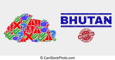 Collage of Bhutan Map Symbol Mosaic and Distress Naturist Area Stamp