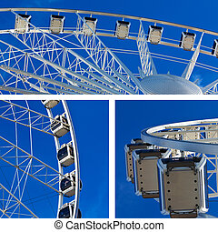 Collage of big ferris wheel on blue sky background
