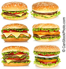 Collage of big hamburgers