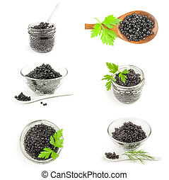 Collage of black caviar isolated on a white background