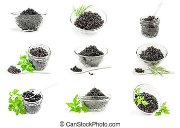 Collage of black caviar on a background