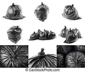 Collage of black garbage bags